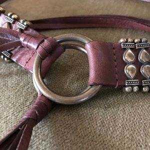 Boho leather and brass tie belt